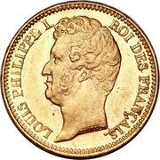 20 francs Louis Philippe, Tiolier, tranche en relief -  avers