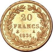 20 francs Louis Philippe, Tiolier, tranche en relief -  revers
