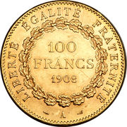 100 francs Génie (tranche Dieu Protège la France) – revers