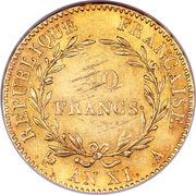 40 francs  Bonaparte Premier consul -  revers