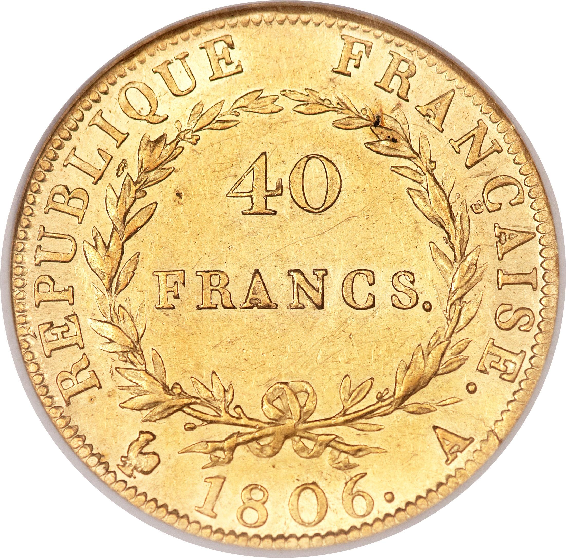 40 francs napol on empereur t te nue calendrier gr gorien france numista. Black Bedroom Furniture Sets. Home Design Ideas