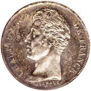 1 franc Charles X (Tranche en creux, matrice du revers à cinq feuilles) -  avers