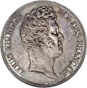 5 francs type Tiolier sans le I de Louis Philippe, tranche en relief -  avers