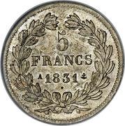 5 francs 1er type Domard, Louis-Philippe I, tranche en relief -  revers