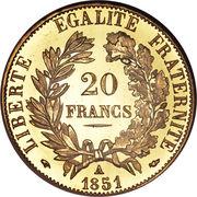 20 francs Cérès (IIème République) -  revers