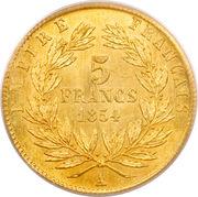 5 francs or Napoléon III (tête nue - petit module) -  revers