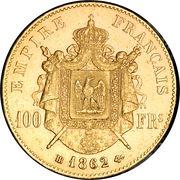 100 francs  Napoléon III (tête laurée) -  revers