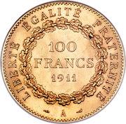100 francs or Génie (Tranche Liberté Egalité Fraternité) – revers