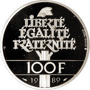 100 francs Droits de l'homme (platine) -  revers