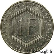 1 franc De Gaulle (Nickel) -  revers