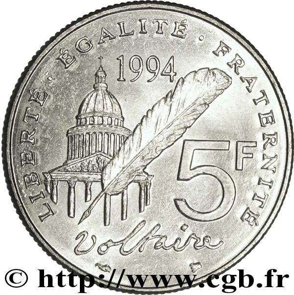 5 francs voltaire france numista. Black Bedroom Furniture Sets. Home Design Ideas