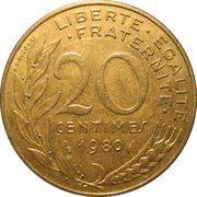 20 centimes Marianne -  revers