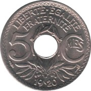 5 centimes Lindauer (grand module, cupronickel) -  revers