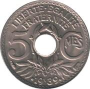 5 centimes Lindauer (maillechort - point avant et après date) -  revers