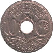 10 centimes Lindauer (maillechort avec points avant et après la date) -  revers