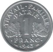 1 franc Francisque (Aluminium-magnésium, légère (1,3g)) -  revers