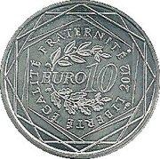 10 euros Réunion (3e type) -  revers