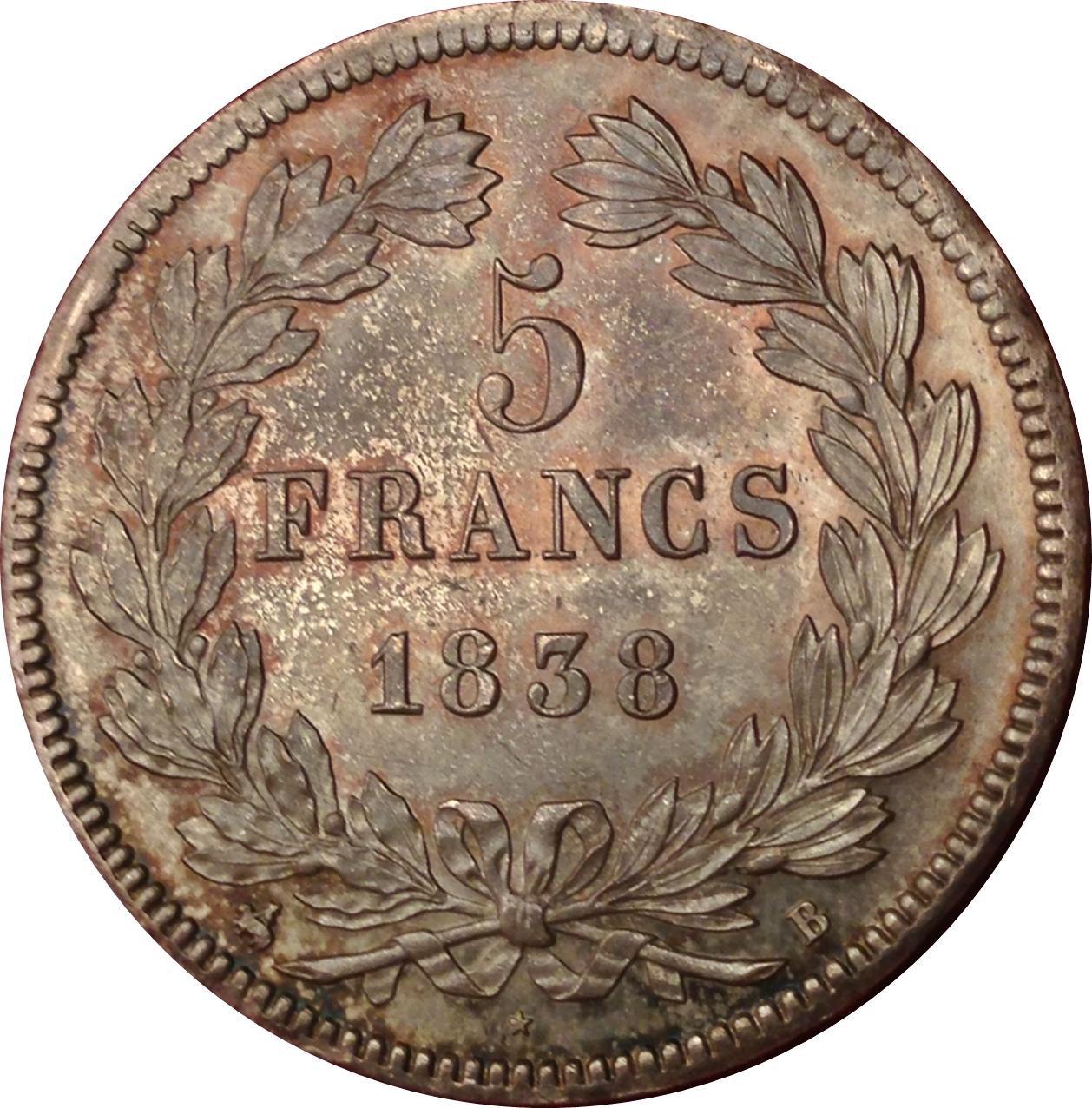 5 Francs Louis Philippe I Tete Lauree Tranche En Relief France