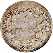 1 franc Napoléon I (tête laurée, République française) -  revers