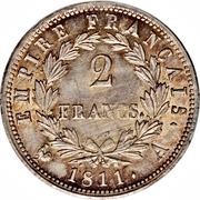 2 francs Napoléon Ier (tête laurée Empire Français) -  revers