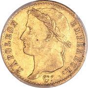 """20 francs Napoléon """"cents jours"""" (tête laurée - Empire français) -  avers"""