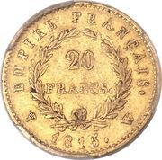 """20 francs Napoléon """"cents jours"""" (tête laurée - Empire français) -  revers"""