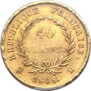 40 francs Napoléon (Tête laurée, république française) -  avers