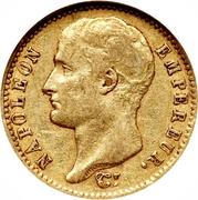 20 francs - Napoléon Tête nue, Type transitoire -  avers