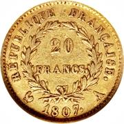 20 francs - Napoléon Tête nue, Type transitoire -  revers