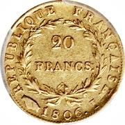 20 francs - Napoléon Tête nue, Calendrier Grégorien -  revers