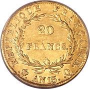 20 francs Napoléon Empereur (tête nue, calendrier révolutionnaire) -  revers