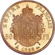 50 Francs  Napoléon III (tête Laurée - Empire français) -  revers