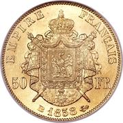 50 francs Napoléon III (tête nue - Empire Français) -  revers