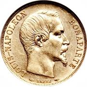 20 francs Louis Napoléon (République française - tête nue) -  avers