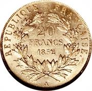 20 francs Louis Napoléon (République française - tête nue) -  revers