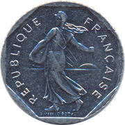 2 francs Semeuse (D'APRES O.ROTY, tranche striée, nickel) -  avers