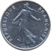 ½ franc Semeuse (O.Roty, tranche striée, nickel) -  avers