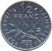 ½ franc Semeuse (O.Roty, tranche striée, nickel) -  revers