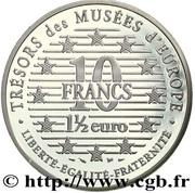 """10 francs / 1½ euros """"Autoportrait à la fourrure"""" d'Albrecht Dürer -  revers"""