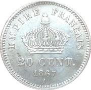 20 centimes Napoléon III (Tête laurée, grand module (16mm)) -  revers