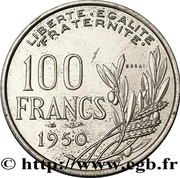 100 francs Cochet (essai de 27mm) – revers