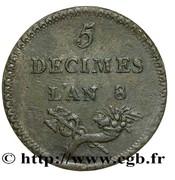 5 décimes (Essai en laiton de Lorthior) -  avers