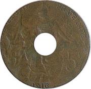 5 centimes Daniel-Dupuis (Epreuve en bronze, perforée, petit module) -  avers