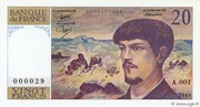 20 francs Debussy (type 1980) – avers