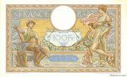 100 francs Luc Olivier Merson (type 1906 modifié) -  revers