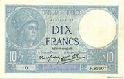 10 francs Minerve (type 1915 modifié) – avers