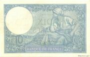 10 francs Minerve (type 1915 modifié) – revers