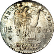 15 sols au génie (type François) - Louis XVI (constitution) -  avers