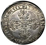 """Franc """"au col plat"""" - Henri III -  revers"""