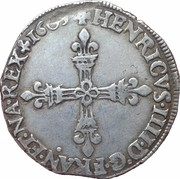 HENRI IV - Quart d'écu, (1er type ) croix bâtonnée et fleurdelisée de face -  avers